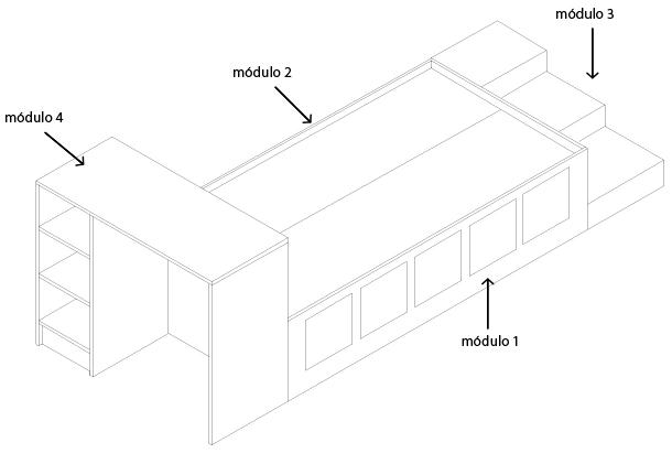 upara facilitar la explicacin llamaremos mdulo a la parte de la cama que tiene los cajones mdulo al complemento de la cama mdulo a la escalera