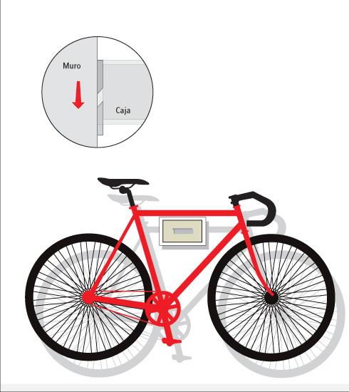 poner la bicicleta sobre la caja