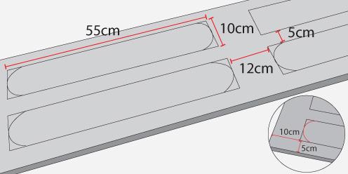 cada trozo de las tendr calados de x cm ubicados de a par a cm desde el borde superior y cm desde los bordes