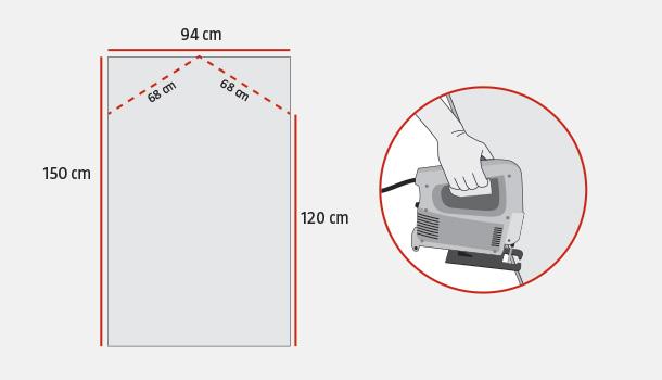 las dos aguas del techo miden x cm y deben tener una inclinacin para caer sobre los laterales de cm