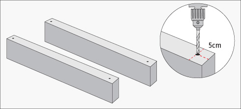 cada trozo cortado va a hacer un peldao de la escalera y para poder unirlos hay que hacer agujeros por el canto van a ir a cm desde cada extremo