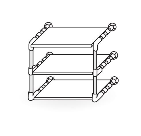 H galo usted mismo c mo hacer un estante con tubos de - Soportes para estantes de madera ...