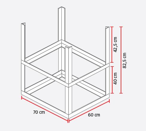 hacer una base de metal de x cm que ser al tambor y a la dimensin de los ladrillos