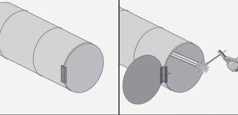a un tambor de tapa desmontable le quitamos la goma del borde y le ponemos una bisagra al costado izquierdo para formar la puerta del horno