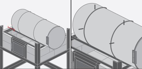 disponer el tambor en la estructura ste debe sobresalir hacia adelante y dejar espacio suficiente en la parte posterior para instalar otra hilera de