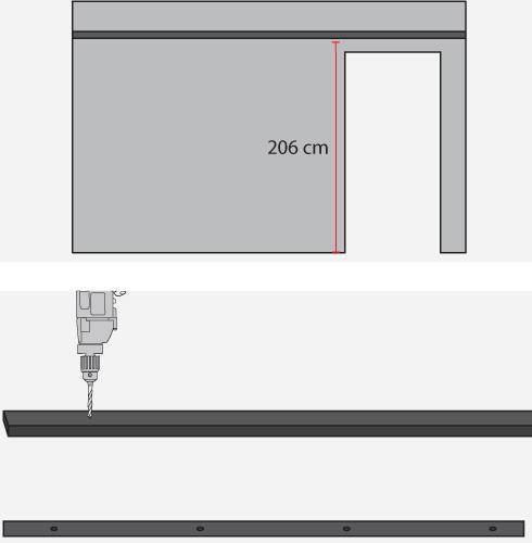 la tabla cortada ir fija a una altura de cm desde el piso esta medida se obtiene sumando la altura de la puerta que en este caso es de mt