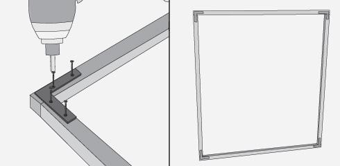 hay que hacer bastidores con los trozos de cm y cm cortados del junquillo x mm se juntan sus extremos y se fijan con una escuadra plana por