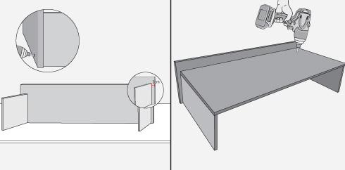 armar la jardinera formando una u con los laterales y el frente dejando estas piezas cm ms adentro porque aqu ir apoyada la estructura metlica