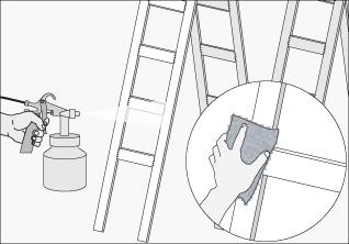 hacer una mezcla de masilla para pistola y diluyente duco en pulverizar sobre las escaleras y repisas