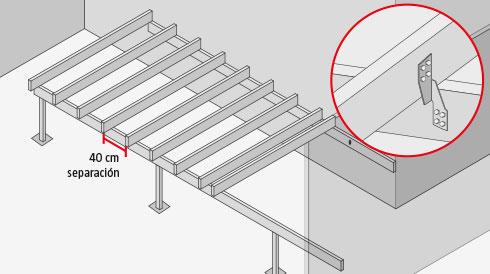 H galo usted mismo c mo construir una terraza de madera for Armar escalera metalica