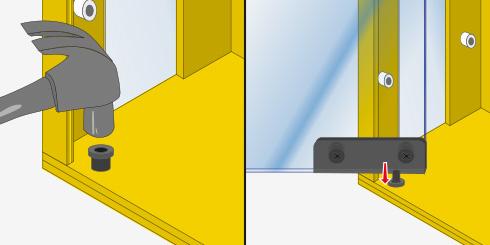 las puertas las hacemos con cortes de vidrio y pares de bisagras para puerta que se instalan muy fcil gracias a su sistema de pivote