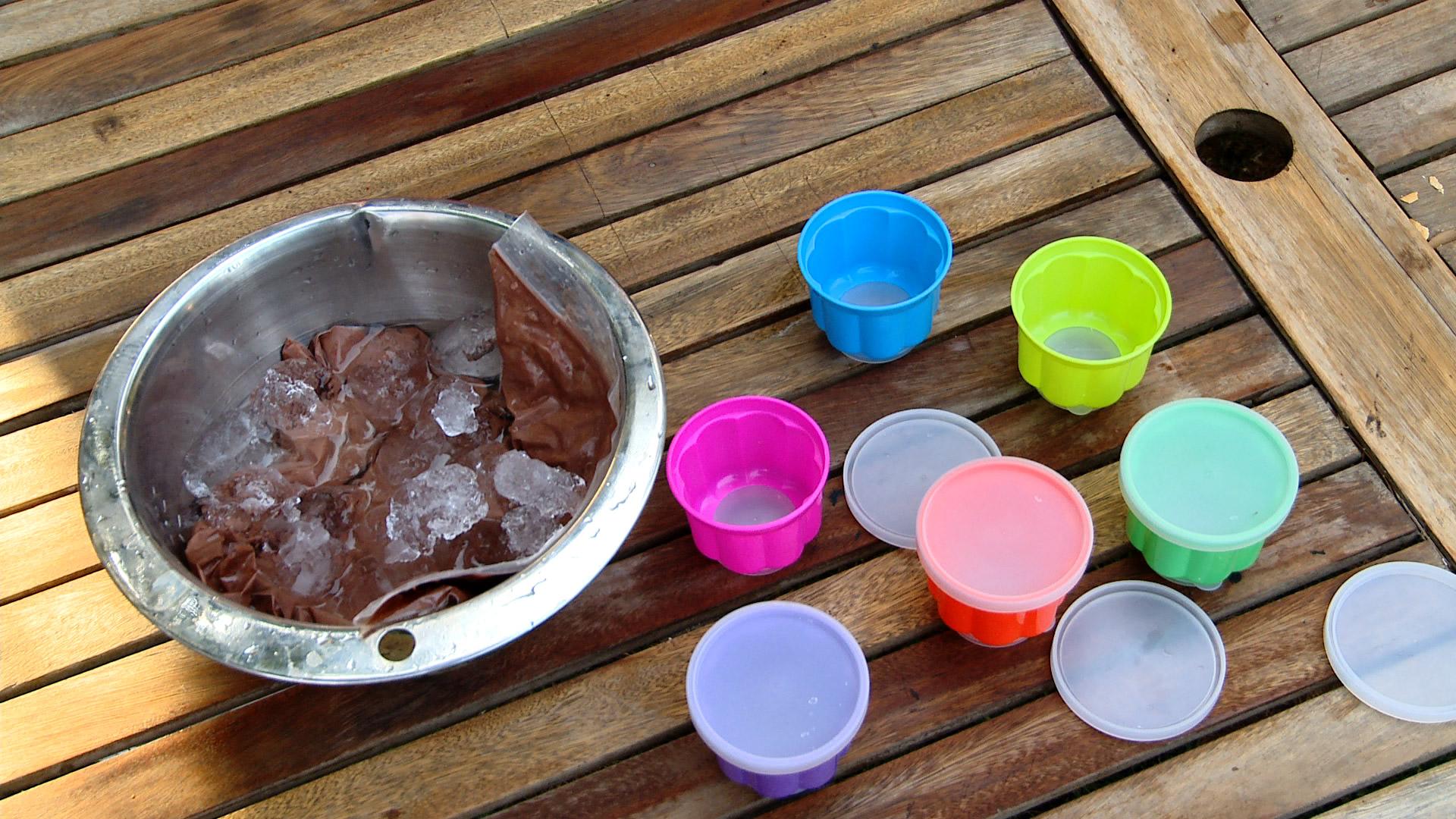 Cuando hace calor nada más entretenido que preparar helados caseros, es una actividad diferente que podemos hacer en la casa, y después refrescarnos tomando helados en familia o con los amigos. Daremos una receta de helado de chocolate y otra para hacer un helado de fruta.