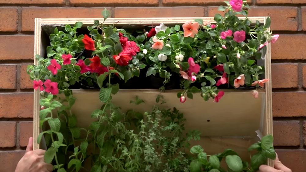En las terrazas o balcones la única posibilidad de tener plantas es con maceteros, pero muchas veces el espacio se hace poco, y hay que pensar dónde ponerlos para que no molesten. Es aquí cuando los muros cobran un rol muy importante, ya que sonexcelente soporte para hacer una jardinera vertical, y mejor aún si además la podemos convertir en una huerta que nos provea de hierbas aromáticas.