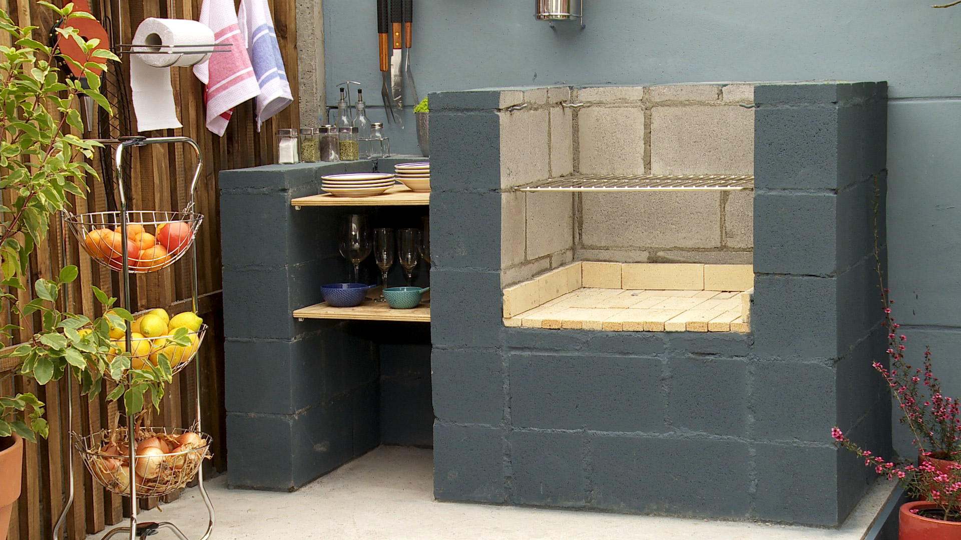 H galo usted mismo c mo hacer un quincho con bloques de concreto - Baldosas de hormigon para jardin ...