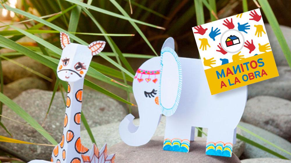 Arma estos divertidos animales de cartulina y transforma en selva tu jardín. Imagina todos los personajes que puedes crear!.