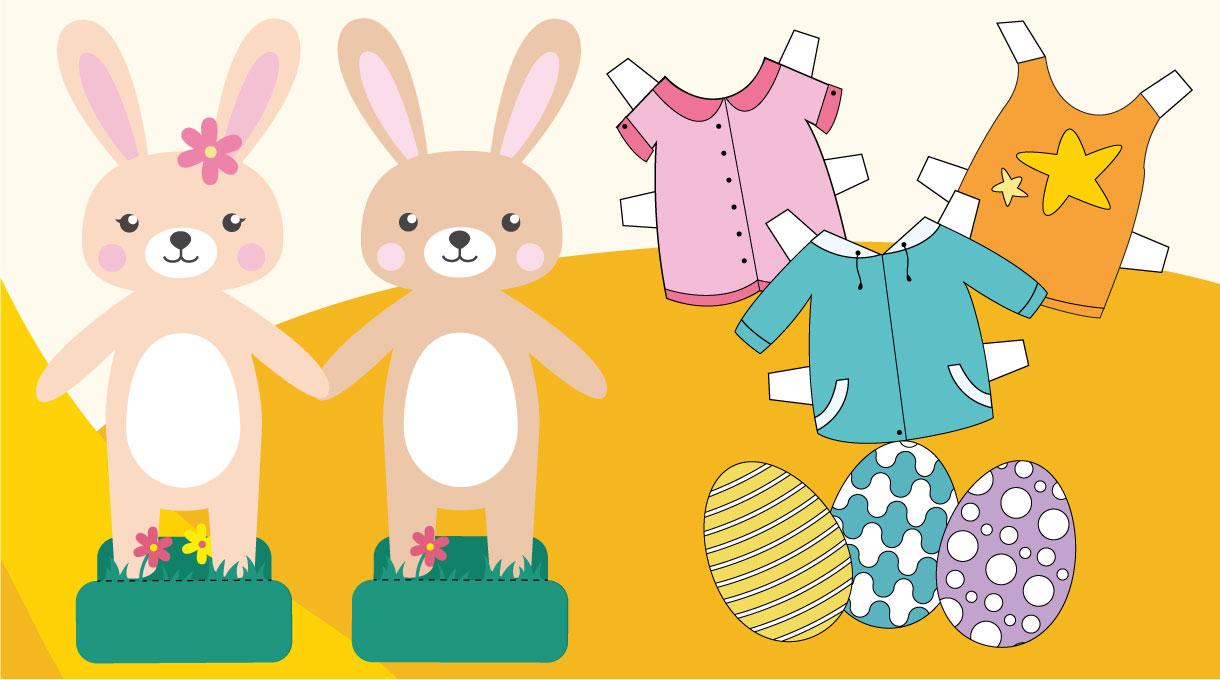 Para divertirte en tu hogar te dejamos disponible esta pareja de conejos que podrás vestir. Descarga las páginas, pégalas en una cartulina o envases de cereales y luego corta. También podrás colorear los huevos. Crea más vestimentas a tu gusto, por ejemplo, usa el vestido como molde, marca el contorno en un papel blanco, recorta y píntalo o sobre un papel con diseños y ¡ya tendrás un nuevo vestido!